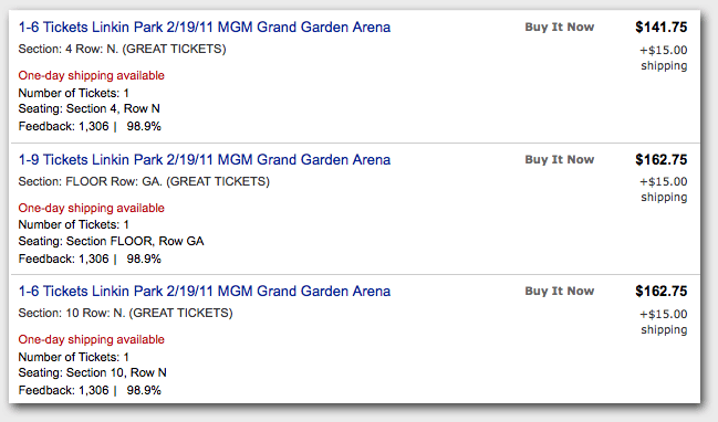 eBay Concert Ticket Listings