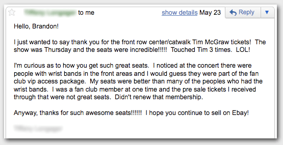 Tim McGraw Tickets Fan Email